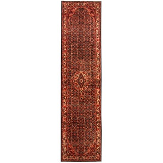 Herat Oriental Persian Hand-knotted Tribal Hamadan Wool Runner (3'5 x 13'4)