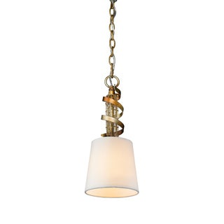 Golden Lighting Gwendolyn Golden Radiance Steel Mini Pendant With Antique White Glass Shade