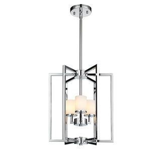 Golden Lighting 'Baxley' Chrome-finish 3-light Pendant Fixture With Cased Opal Glass