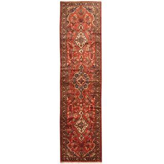 Herat Oriental Persian Hand-knotted Tribal Hamadan Wool Runner (3'4 x 12'10)