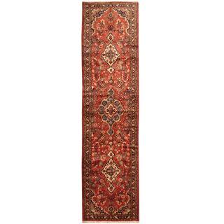 Herat Oriental Persian Hand-knotted Tribal Hamadan Wool Runner (3'4 x 12'10)