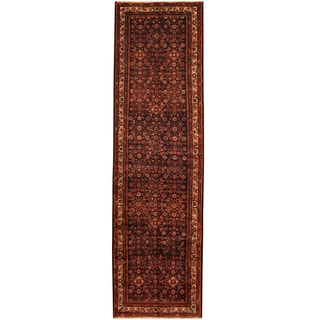 Herat Oriental Persian Hand-knotted Tribal Hamadan Wool Runner (3'11 x 13'5)