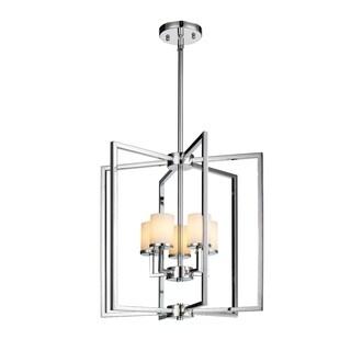 Golden Lighting Baxley Chrome Steel Cased Opal Glass 5-light Pendant