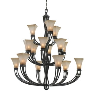 Golden Lighting Genesis Roan Timber Evolution Glass 3-tier 15-light Chandelier