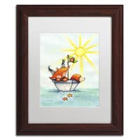 Jennifer Nilsson 'Little Fox at Sea' Matted Framed Art - Yellow