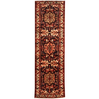 Herat Oriental Persian Hand-knotted Tribal Hamadan Wool Runner (3'4 x 11'1)