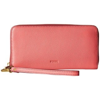 Fossil Emma Rose Pink Leather RFID Zip Clutch Wristlet Wallet