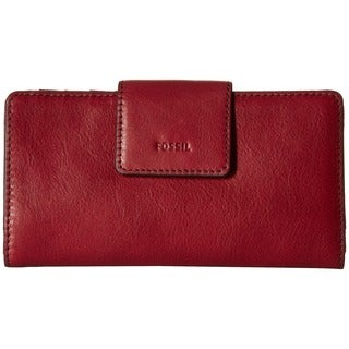 Fossil Emma Wine-colored Leather RFID Tab Clutch Wallet