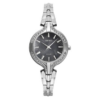 Seiko Women's SUP345 Stainless Steel with Swarovski Crystals Solar Watch with a Hardlex Crystal
