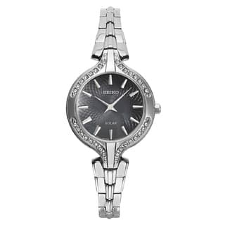 Seiko Women's SUP345 Stainless Steel with Swarovski Crystal Elements Solar Watch with a Hardlex Crystal|https://ak1.ostkcdn.com/images/products/13308670/P20015842.jpg?impolicy=medium