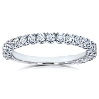 Annello by Kobelli 14k White Gold 1/2ct TDW Diamond Round Split Prong Wedding Band