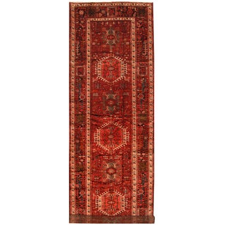 Herat Oriental Persian Hand-knotted Tribal Hamadan Wool Runner (4'10 x 15'2)