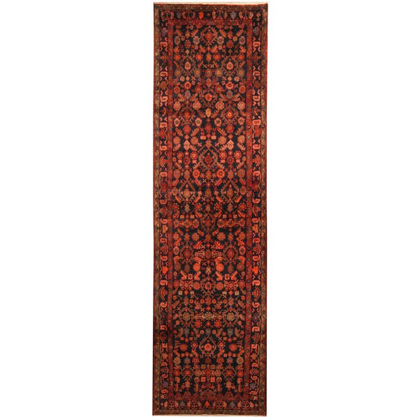 Herat Oriental Persian Hand-knotted Tribal Hamadan Wool Runner (3'7 x 13'5)