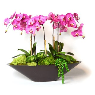 Fuchsia Faux Orchids in Large Metal Boat, FU