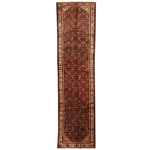 Herat Oriental Persian Hand-knotted Tribal Hamadan Wool Runner (3'5 x 13'8)