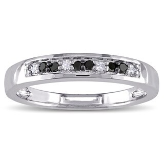 Miadora Sterling Silver 1/10ct TDW Black and White Diamond Anniversary Band