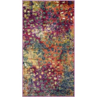 Safavieh Monaco Abstract Watercolor Pink/ Multi Distressed Runner (2' 2 x 4')