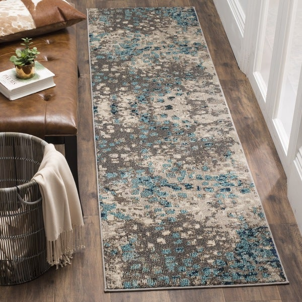 Safavieh Monaco Abstract Watercolor Grey / Light Blue Distressed Runner (2' 2 x 12')