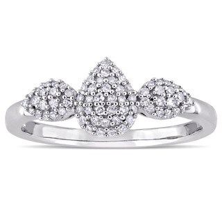 Miadora 14k White Gold 1/5ct TDW Diamond Pear Shaped Cluster Engagement Ring