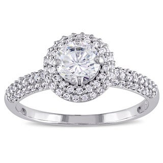 Miadora Sterling Silver Cubic Zirconia Double Round Halo Engagement Ring