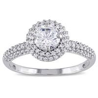 Miadora Sterling Silver Cubic Zirconia Double Round Halo Engagement Ring - White