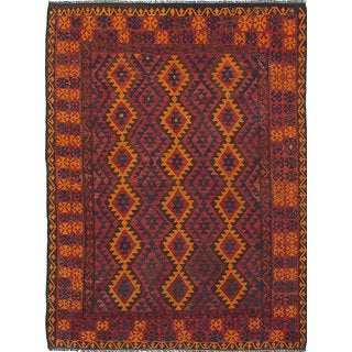 Ecarpetgallery Qashqai Orange, Red Wool Kilim (7'0 x 9'5)