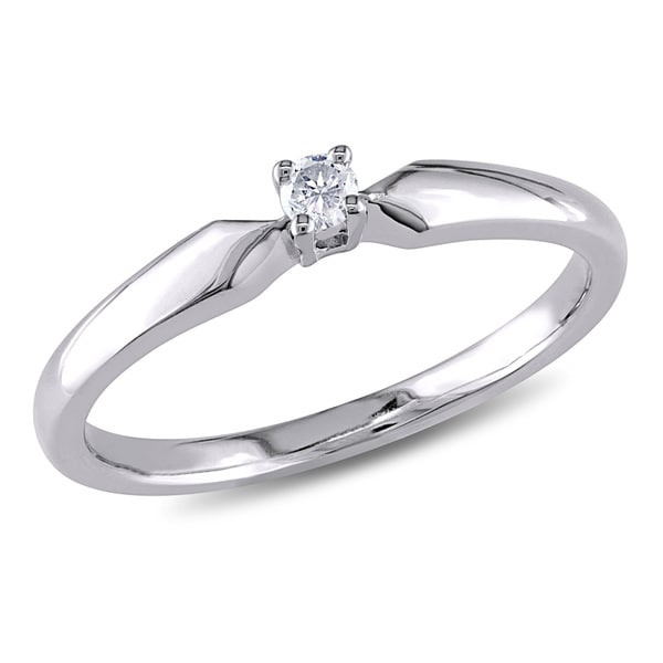 Miadora Sterling Silver Diamond Accent Solitaire Engagement Ring - White