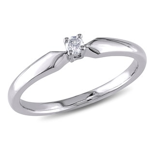 Miadora Sterling Silver Diamond Accent Solitaire Engagement Ring