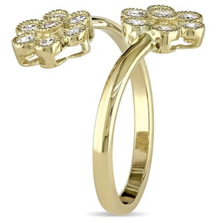 Miadora Signature Collection 14k Yellow Gold 1/2ct TDW Diamond Double Flower Bypass Ring
