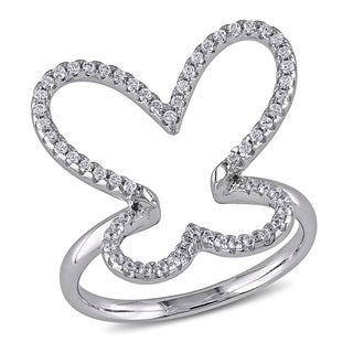 Miadora Sterling Silver Cubic Zirconia Studded Open Butterfly Ring
