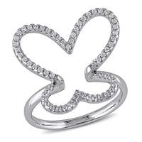 Miadora Sterling Silver Cubic Zirconia Studded Open Butterfly Ring - White