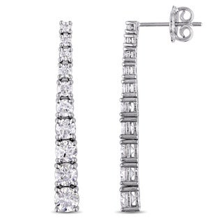 Miadora Signature Collection 18k White Gold 3ct TDW Diamond 9-Stone Graduated Bar Stud Earrings (G-H, I1-I2)