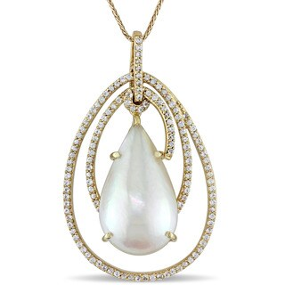 Miadora Signature Collection 14k Yellow Gold White Mabe Pearl and White Sapphire Teardrop Swirl Necklace (12-13mm)