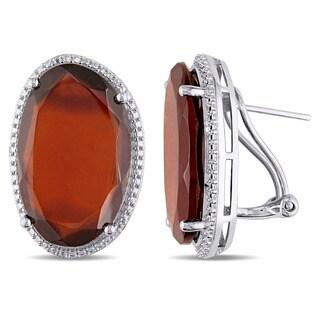 Miadora Sterling Silver Garnet Abstract Clip-Back Earrings