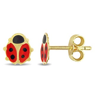 Miadora 18k Yellow Gold Children's Red and Black Enamel Coated Ladybug Children's Stud Earrings