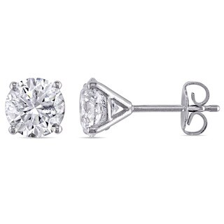 Miadora Signature Collection 14k White Gold 2 1/10ct TDW Diamond Martini-Style Stud Earrings (E-F, I2-I3)
