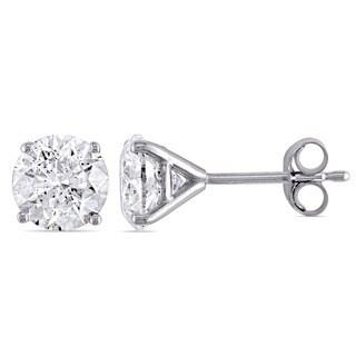 Miadora Signature Collection 14k White Gold 2ct TDW Diamond Martini-Style Stud Earrings (H-I, I1-I2)