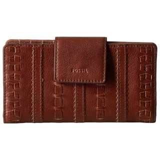 Fossil Emma Brown Leather Tab Clutch Wallet