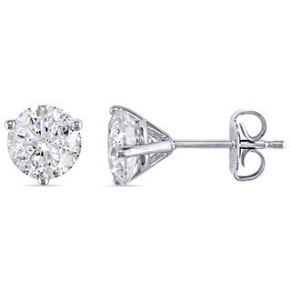 Miadora Signature Collection 14k White Gold 2ct TDW Diamond Stud Earrings