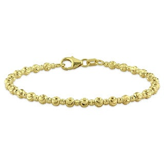 Miadora Signature Collection 18k Yellow Gold Diamond-Cut Beaded Baby Bangle