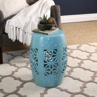 Abbyson Bella Robin's Egg Blue Ceramic Garden Stool