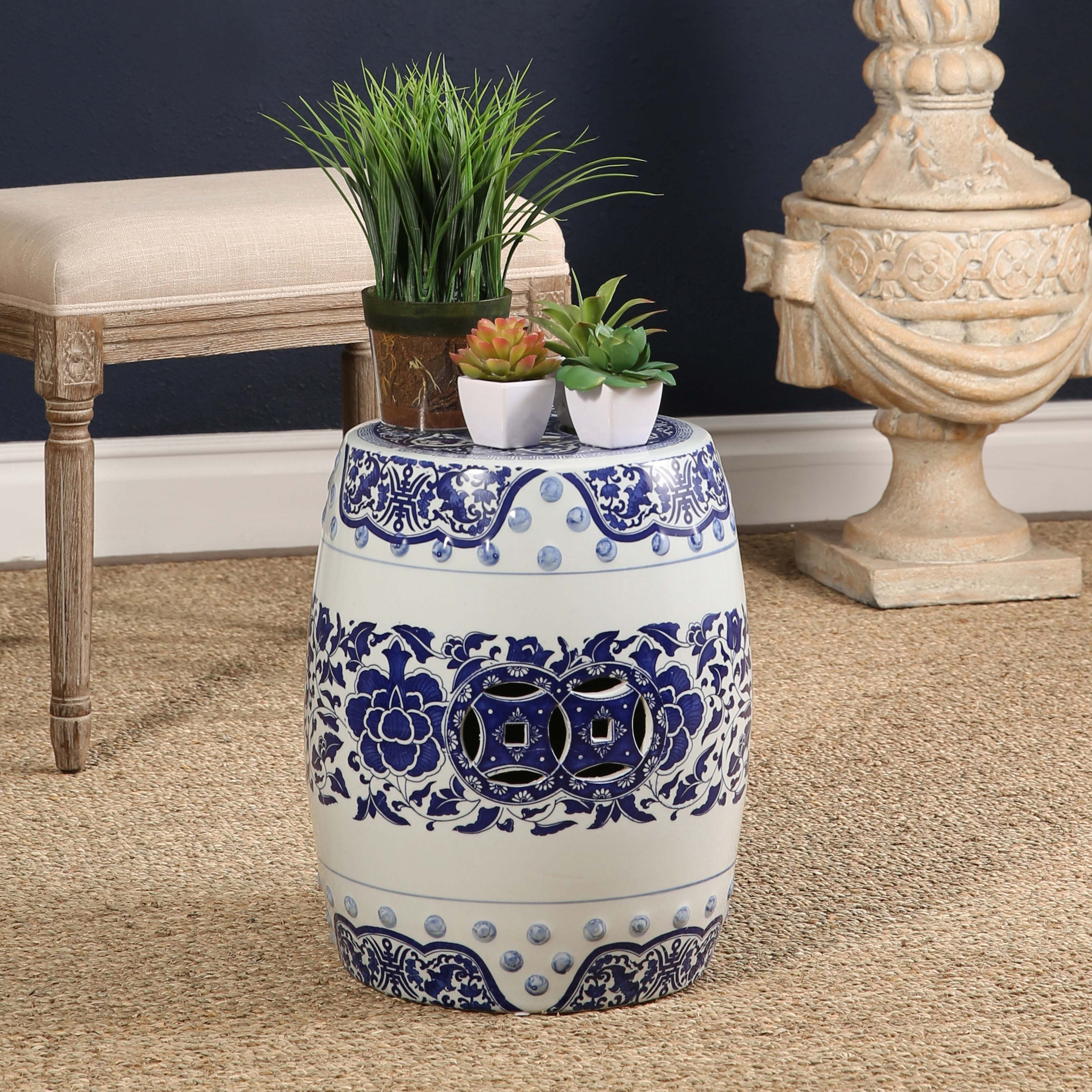 of pierced ceramic stools at medallion l sale stool pair bright for white garden