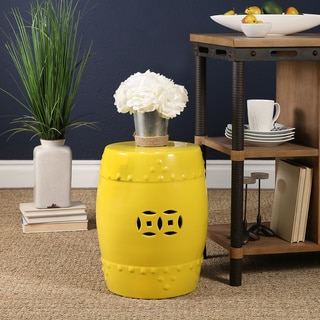 Abbyson Madras Yellow Ceramic Garden Stool