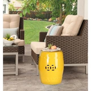 Abbyson Madras Yellow Ceramic Garden Stool