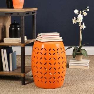 Abbyson Saint Barth Orange Ceramic Garden Stool