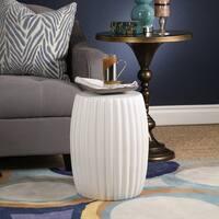 Abbyson Fiji Ceramic Garden Stool, White