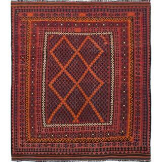 Ecarpetgallery Qashqai Orange, Red Wool Kilim (8'0 x 9'0)