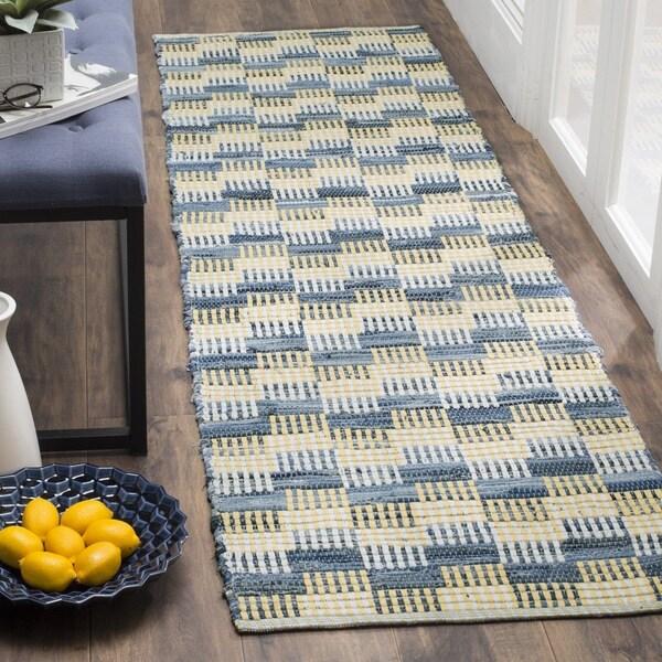 Safavieh Montauk Handmade Geometric Flatweave Gold/ Multi Cotton Runner - 2'3 x 6'