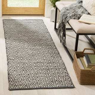 Safavieh Montauk Handmade Geometric Flatweave Ivory/ Dark Grey Cotton Runner (2' 3 x 9')