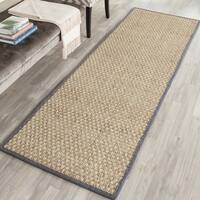 Safavieh Natural Fiber Contemporary Natural/ Dark Grey Seagrass Runner Rug - 2' 6 x 14'